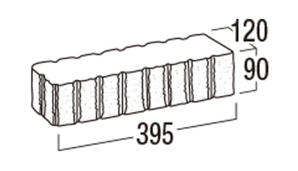 リブロックF-寸法図-8Wコーナー笠木