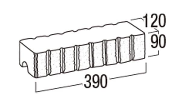 リブロックF-寸法図-8W笠木