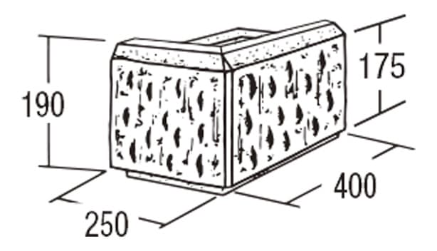 ABロック12°-寸法図-コーナー(左用)