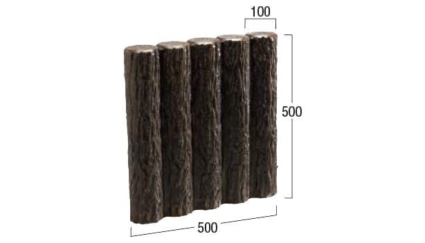擬木-寸法図-両面5連縁石5号