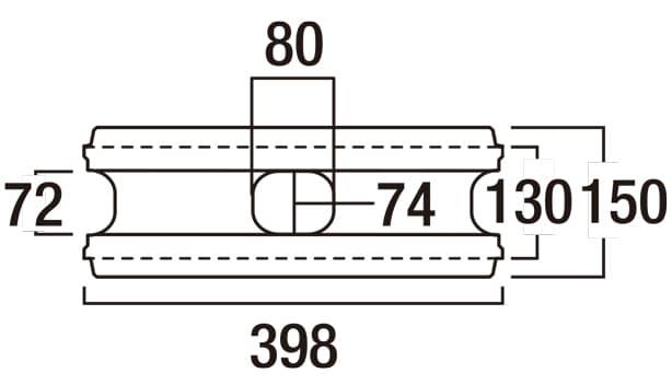 リブロックRX-寸法図-150-1W基本形横筋上部