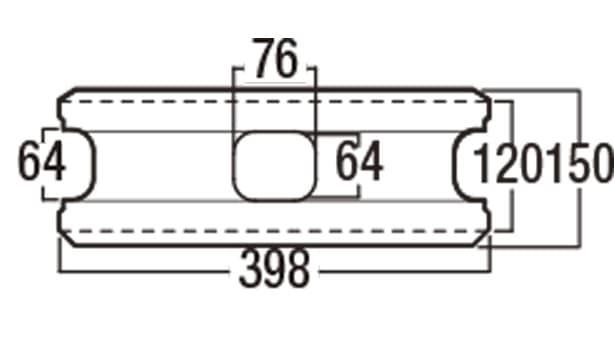 ピッチフェイス100/200-寸法図-200基本形横筋上部
