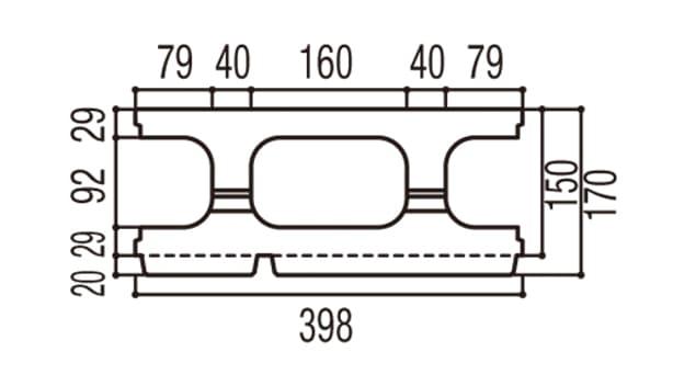 RECOM 2SP-寸法図-150基本上部