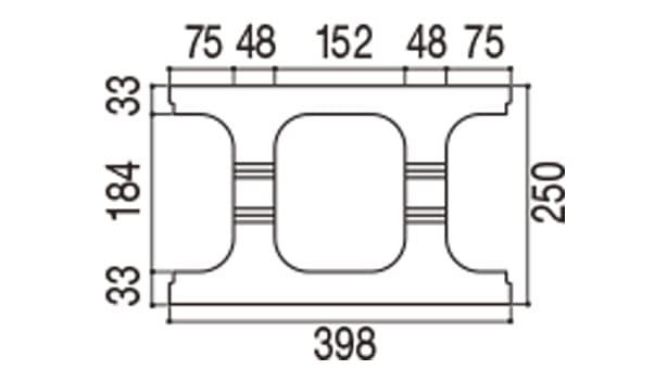 RECOM フラット-寸法図-250基本上部