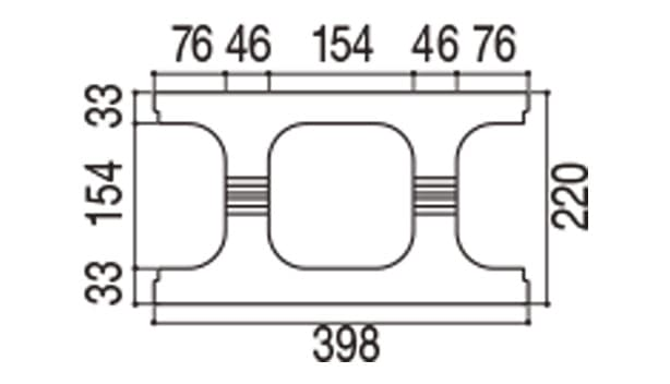 RECOM フラット-寸法図-220基本上部