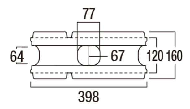 REリブ2SP-寸法図-基本形横筋上部形状