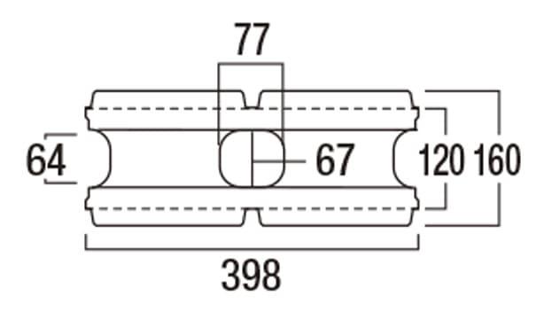 REリブ スクエア-寸法図-基本形横筋上部形状