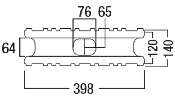 バイオメタル-寸法図-基本形横筋上部