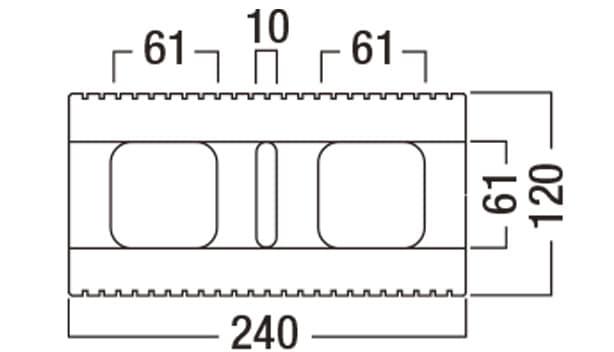 BBブリック-寸法図-基本形横筋上部