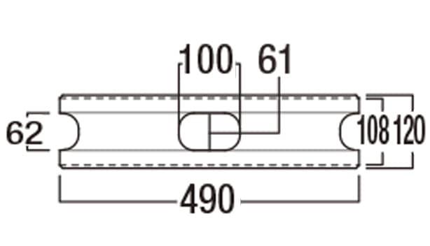 本みかげ500-寸法図-基本形横筋上部