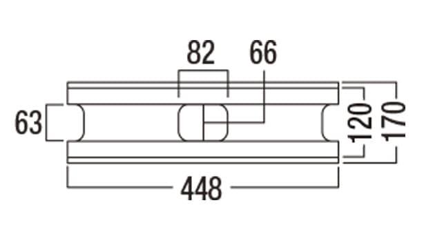 ラスティック450-寸法図-基本形横筋上部形状