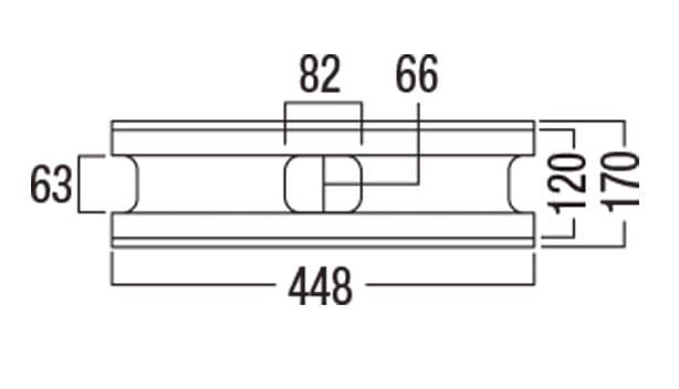 ボーダー450-寸法図-基本形横筋上部形状