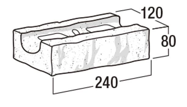 RB-120【補強れんが】-寸法図-基本形横筋