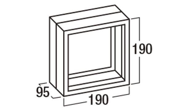 ガラスブロック/カクテルカラー/メタリックカラー-寸法図-ガラスブロック