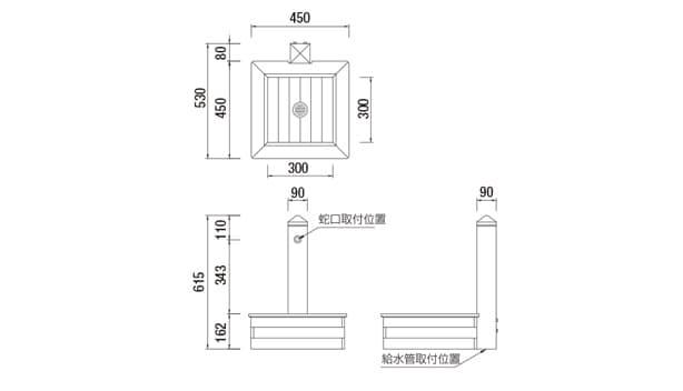 オアシスシリーズ/立水栓ユニット ピッコロ-寸法図-形状寸法図
