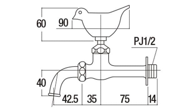 オアシスシリーズ/ガーデニング水栓-寸法図-形状寸法図