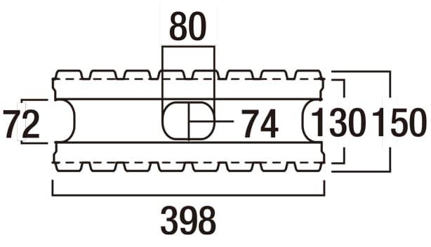 リブロックRX-寸法図-150-2W基本形横筋上部