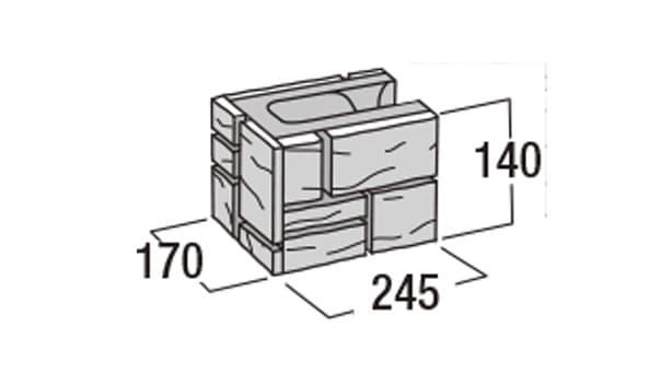 ラスティック450-寸法図-コーナー1/2
