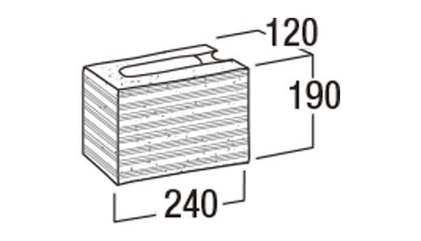 本みかげ500-寸法図-コーナー1/2・506