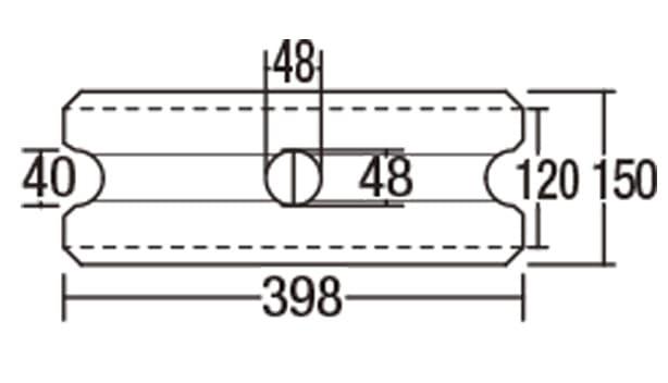 ピッチフェイス100/200-寸法図-100基本形横筋上部