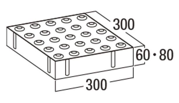 視覚障害者用誘導ブロック-寸法図-L点字