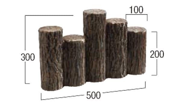 擬木-寸法図-乱杭5連縁石