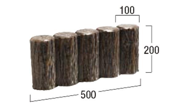 擬木-寸法図-両面5連縁石2号