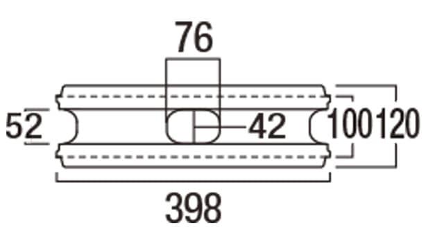 リブロックRX-寸法図-1W基本形横筋上部
