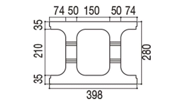 RECOM フラット-寸法図-280基本上部