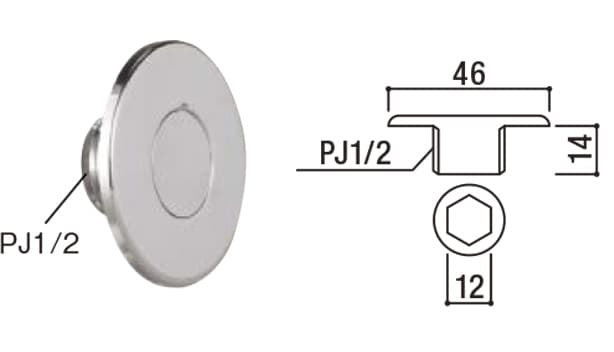 オアシスシリーズ/ポールタイプ/ステンレスパン-寸法図-止水プラグ
