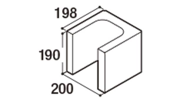 RECOM フラット-寸法図-200コーナー1/2