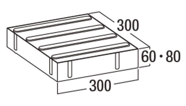 視覚障害者用誘導ブロック-寸法図-L線字