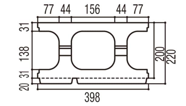 RECOM 2SP-寸法図-200基本上部