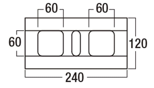 RB-120【補強れんが】-寸法図-基本形横筋上部形状