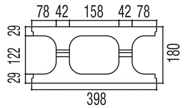 RECOM フラット-寸法図-180基本上部