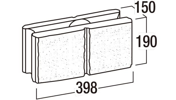 リブロックRX-寸法図-150-2W基本形横筋