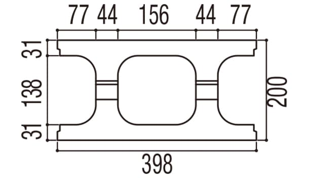 RECOM フラット-寸法図-200基本上部