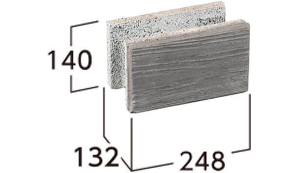 ラボ・ウォール-寸法図-片面基本形横筋1/2右