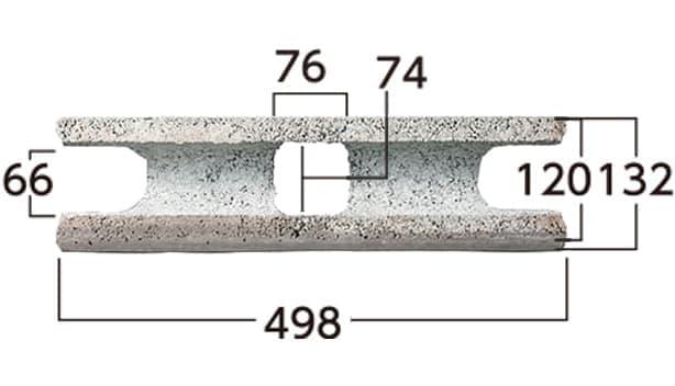 ラボ・ウォール-寸法図-片面基本形横筋上部形状