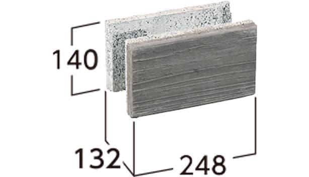 ラボ・ウォール-寸法図-片面基本形横筋1/2左