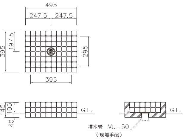 オアシスシリーズ/立水栓ユニット アルマ/アルマパン/パン-寸法図-フレスコパン