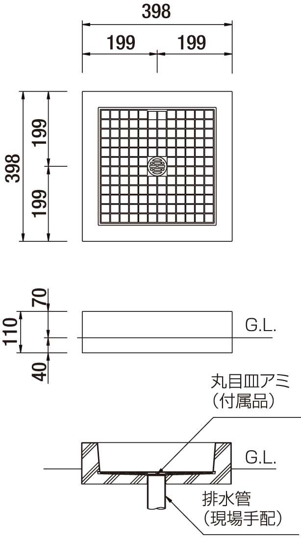 オアシスシリーズ/立水栓ユニット アルマ/アルマパン/パン-寸法図-アルマパン