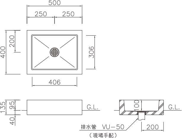 オアシスシリーズ/立水栓ユニット アルマ/アルマパン/パン-寸法図-アレグロパン
