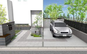 シンメトリーデザインの駐車場アプローチ