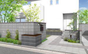 シンメトリーデザインの駐車場アプローチ3