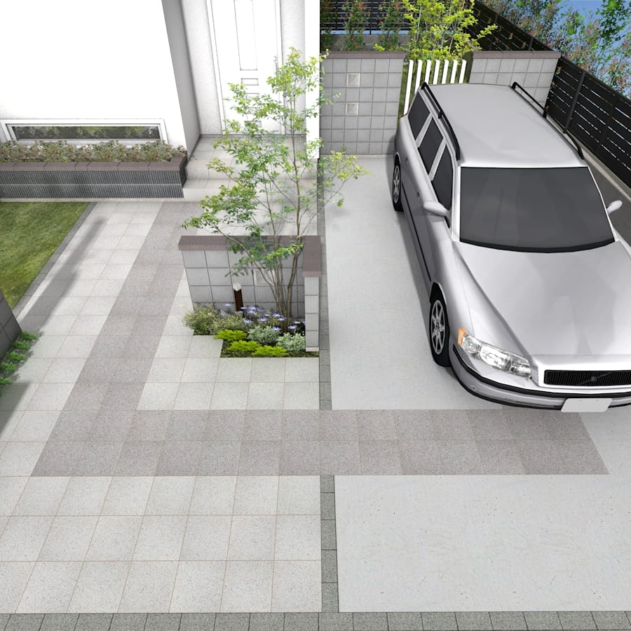 シンメトリーデザインの駐車場アプローチ_ポイント