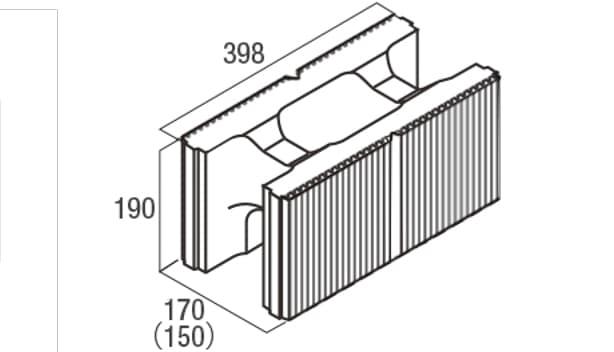スクエアC・型枠-寸法図-基本形横筋