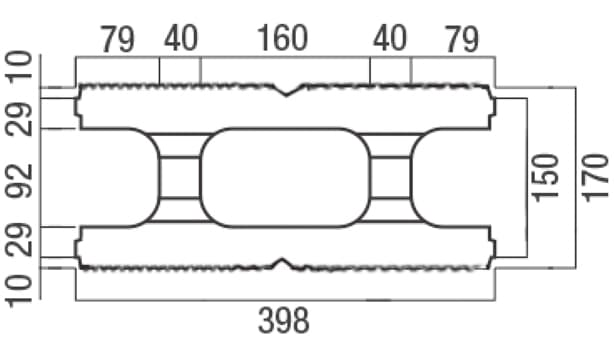 スクエアC・型枠-寸法図-基本形横筋上部