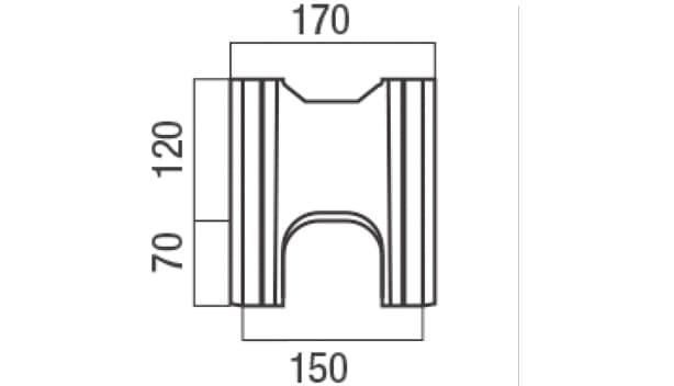 スクエアC・型枠-寸法図-基本形横筋側面