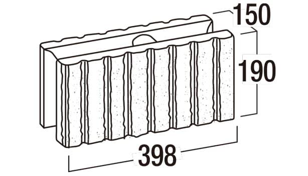 リブロック150-寸法図-基本形横筋